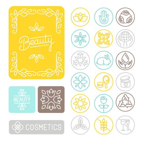 cosmeticos: Vector conjunto de elementos lineales de diseño, emblemas e iconos para el diseño de envases para la belleza y cosmética - cuadros de flores; no probado en animales; sin gluten y reciclados Vectores
