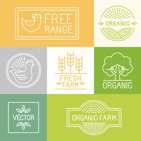 Vector frais labels agricoles et en libre parcours et des badges dans un style à la mode linéaire - icônes et des symboles pour l'industrie alimentaire