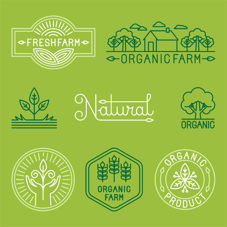 and organic: Vector agriculture and organic farm line logos - set of design elements and badges for food industry
