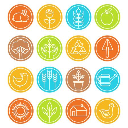 agricoles de Vector et de l'agriculture des signes et des symboles dans un style à la mode linéaire - signes de la nature et de l'écologie Illustration