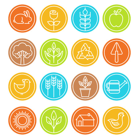 trendy: Vector farm and agriculture signs and symbols in trendy linear style - nature and ecology signs Illustration