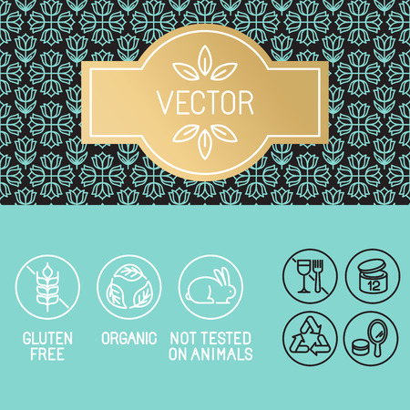 cosmetology: Vector design elements in trendy linear style - label and icons for beauty and cosmetic products package - emblems gluten free, organic and not tested on animals