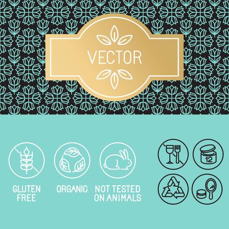 Vector designelementen in trendy lineaire stijl - label en pictogrammen voor schoonheid en cosmetische producten pakket - emblemen glutenvrij, biologisch en niet getest op dieren Stock Illustratie