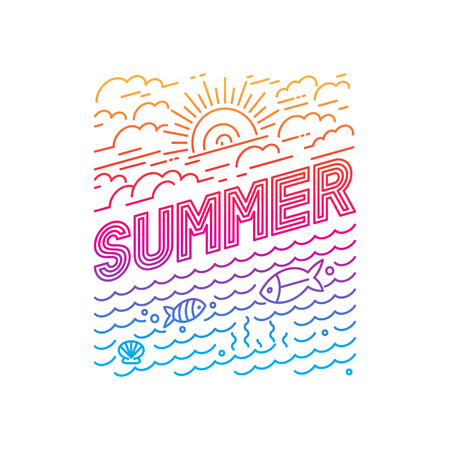 Vector summer poster and banner design in trendy linear style - lettering and icons Çizim