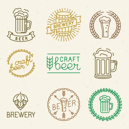 벡터 공예 맥주 양조장 로고와 트렌디 한 선형 스타일 표지판 - 맥주 집, 술집과 양조 회사에 대한 텍스트와 글자 모노 라인 배지 및 상징