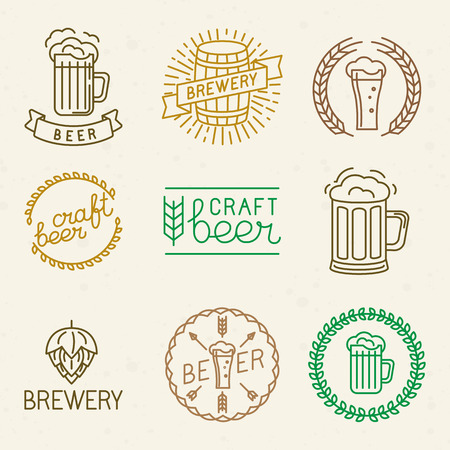Vector craft beer and brewery logos and signs in trendy linear style - mono line badges and emblems with text and lettering for beer houses,  pubs and  brewing companies Vector