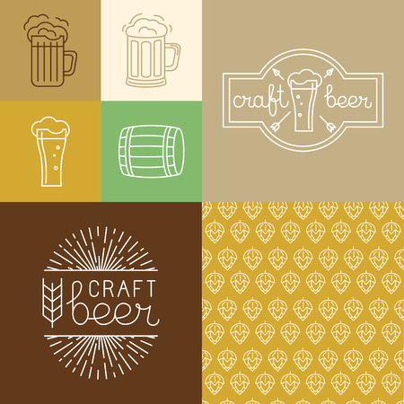 Vector craft beer and brewery logos and design elements in linear style - mono line badges, icons and seamless patterns for brewing companies Vector