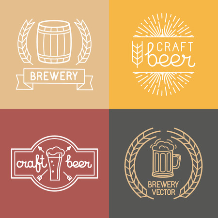 beer mugs: Vector craft beer and brewery logos and labels in linear style - mono line badges and emblems with text and lettering for bars and  brewing companies