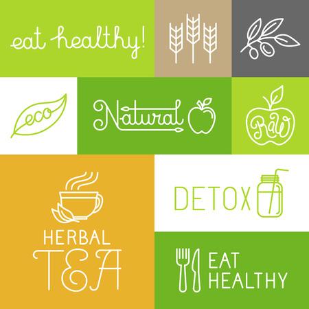 ライフスタイル: 健康的で新鮮なファーム製品ラベルとトレンディな直線的なスタイルのアイコンをベクトル - 健康および自然な概念を食べる