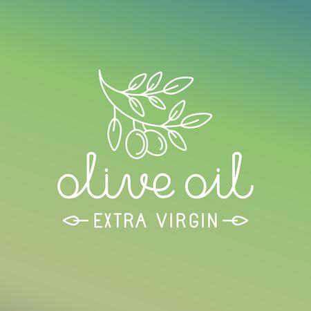 aceite de oliva virgen extra: Vector icono de aceite de oliva y el logotipo elemento de dise�o en estilo lineal moda - ilustraci�n l�nea mono y el concepto para el envasado de aceite de oliva virgen extra y productos frescos de granja Vectores