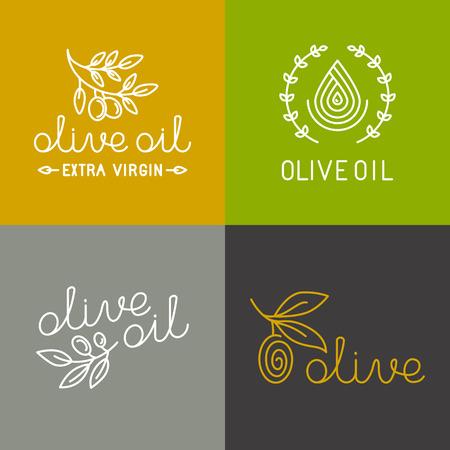 arboles frutales: Iconos petr�leo Vector oliva y elementos de dise�o de logotipo en estilo lineal moderno - ilustraciones de l�nea mono y conceptos para el envasado de aceite de oliva virgen extra y productos frescos de granja