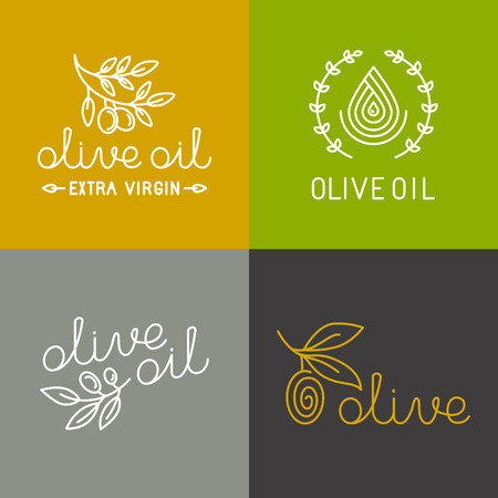 extra virgin olive oil: Vector olive oil icons and logo design elements in trendy linear style - mono line illustrations and concepts for packaging of extra virgin olive oil and fresh farm products