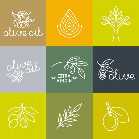 logo de comida: Iconos petróleo Vector oliva y elementos de diseño de logotipo en estilo lineal moderno - ilustraciones de línea mono y conceptos para el envasado de aceite de oliva virgen extra y productos frescos de granja