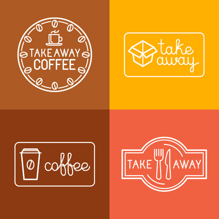 take away: Vector set of linear labels and logo design elements for take away food and coffee to go - mono line icons and badges for cafes and catering