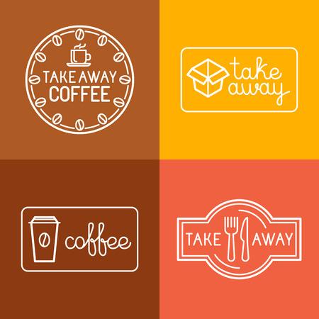 Vector set van lineaire labels en logo design elementen voor afhaalmaaltijden en koffie te gaan - mono lijn iconen en badges voor cafes en catering