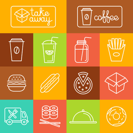 restaurants: Vector take away food and coffee to go icons and labels in trendy linear style - fast food and cafe concepts