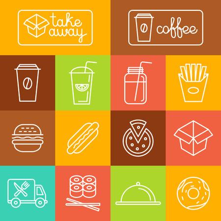 Vector togliere cibo e caffè per andare icone ed etichette in stile lineare di tendenza - fast food e concetti caffè
