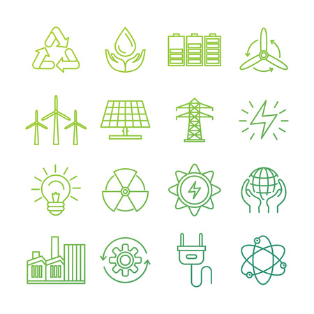 nuclear power: Vector ecology signs and icons in trendy mono line style - collection of alternative energy related concepts - eco and bio environmentally friendly power generation and nature conservation