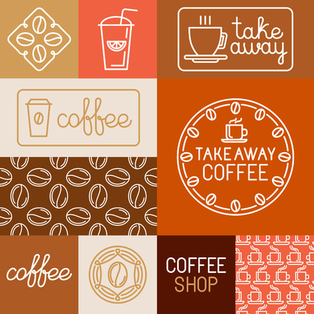 Vector set van design elementen, naadloze patronen en logo templates voor koffiehuizen en winkels - koffie te tekenen en badges te gaan