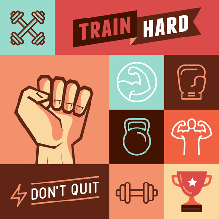 Vector set of design elements and icons for motivational sport posters and banners - signs for gyms and crossfit  trainings