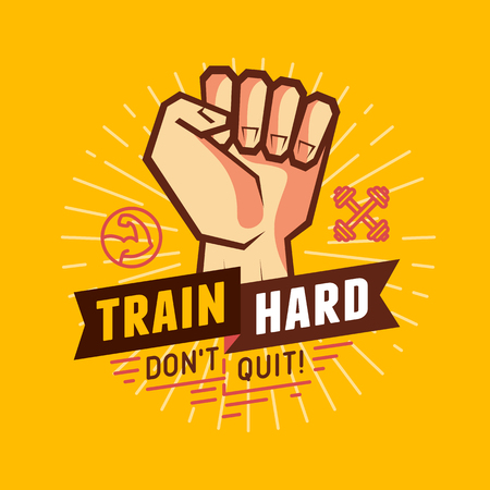 sport, fitness and crossfit illustration- design elements for motivational poster and t-shirt print - train hard,  dont quit