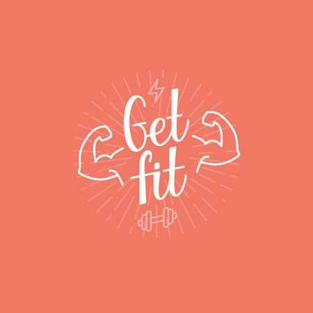 Vector sport motivational banner - get fit lettering - fitness poster concept