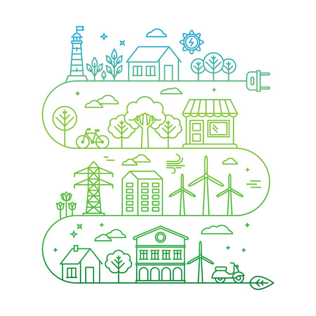 bio energy: Vector concept and infographic design elements in trendy linear style - city illustration concept with alternative energy generators - nature conservation and protection with modern innovation and technologies Illustration
