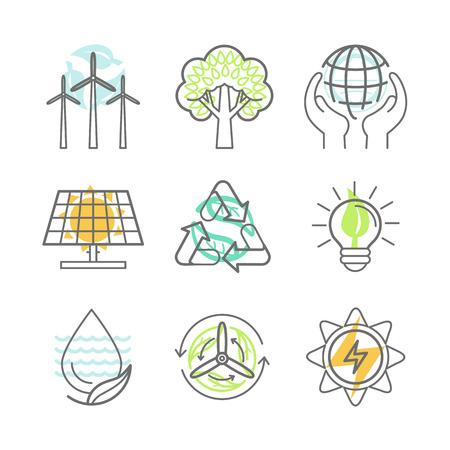 raccolta differenziata: Vettore icone di ecologia - energie rinnovabili alternative, protezione ecologia e il riciclaggio - i concetti di conservazione della natura in stile lineare di tendenza - elementi di design per le illustrazioni e infografica