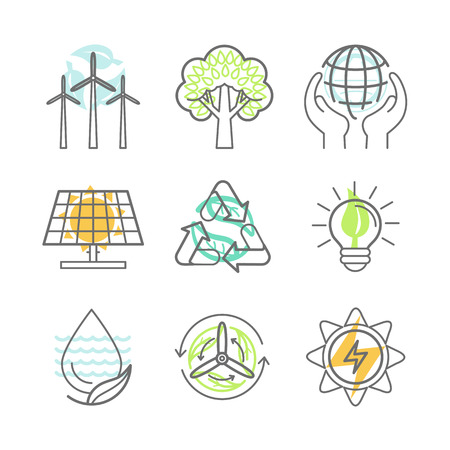 Vector ecology icons - alternative renewable energy, ecology protection and recycling - nature conservation concepts in trendy linear style - design elements for illustrations and infographics Vettoriali
