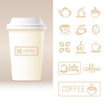 away travel: Vector realistic coffee to go cup template with linear design elements and logo templates - set of signs and icons for coffee shops and houses business