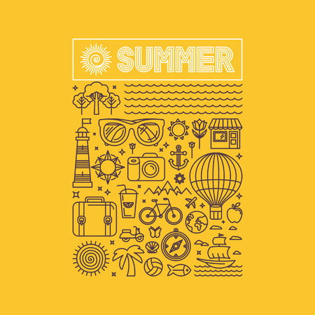 Vector summer and vacation poster or print for t-shirt in trend linear style on yellow background - illustration with icons and sign