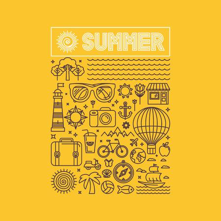de zomer: Vector zomer en vakantie poster of druk voor t-shirt in de trend lineaire stijl op gele achtergrond - illustratie met pictogrammen en teken