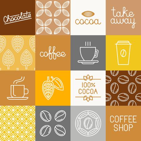 ベクトル チョコレート、ココアとコーヒーのアイコンと包装紙および包装 - デザイン要素とトレンディなモノラル ライン スタイルのロゴのテンプ  イラスト・ベクター素材