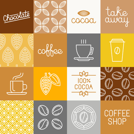 coffee beans background: Vector chocolate, cocoa and coffee icons and design elements for wrapping paper and packaging - design elements and logo templates in trendy mono line style