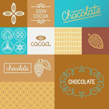 conjunto de elementos de diseño para el chocolate y el envasado de cacao y papel de regalo