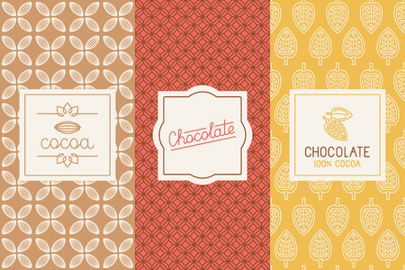 set of design elements and seamless pattern for chocolate and cocoa packaging  Vectores