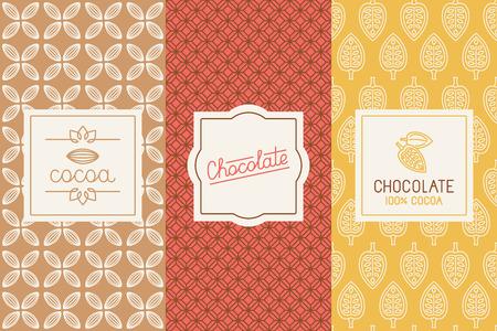 ensemble d'éléments de conception et pattern pour le chocolat et l'emballage de cacao Illustration