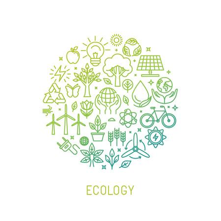 bombilla: ecología ilustración con iconos y signos de estilo lineal