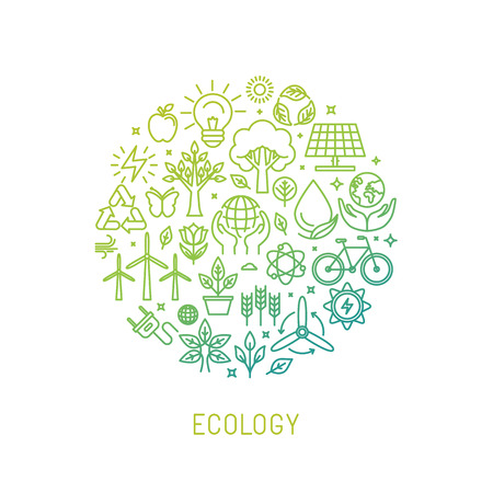 ecology illustration with icons and signs in linear style Çizim