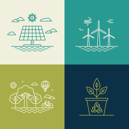 viento: conceptos de ecolog�a en estilo lineal moda Vectores