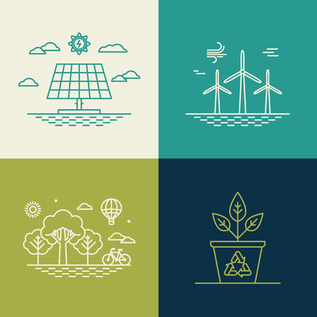 wind icon: ecology concepts in trendy linear style