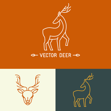 mono print: Vector deer logo template in trendy hipster  linear style - set of abstract emblems and concepts- mono line icons Illustration