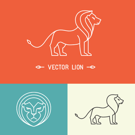 lion vector: Vector lion logo template in trendy hipster  linear style - set of abstract emblems and concepts- mono line icons