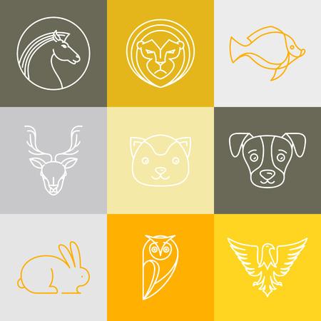 cabeza: Logotipos vectoriales lineales y signos - animales cabezas en estilo de esquema Vectores