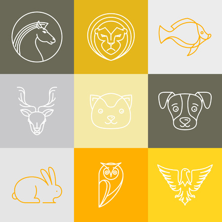Vector linear logos and signs - animals heads in outline style Ilustração
