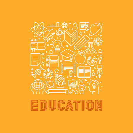 Vector education concept in trendy linear style - e-learning and science icons and signs with lettering Illustration