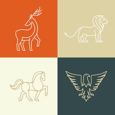 Vector lineaire iconen ontwerp elementen - paard, leeuw, herten en adelaars