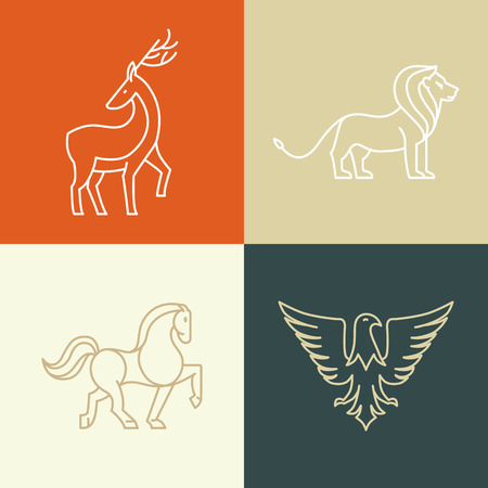 horses: Vector linear icons design elements - horse, lion, deer and eagle