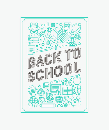 utiles escolares: Vector de nuevo a diseño del cartel de la escuela en el estilo lineal de moda - iconos de línea mono y letras