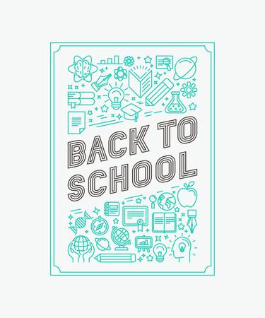 Vector terug naar school poster ontwerp in trendy lineaire stijl - mono lijn iconen en letters
